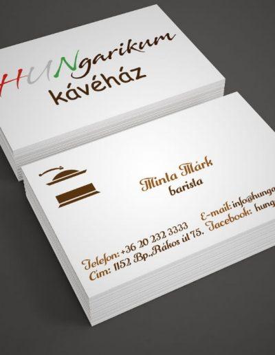 Hungarikum Kávéház névjegykártya terv 2