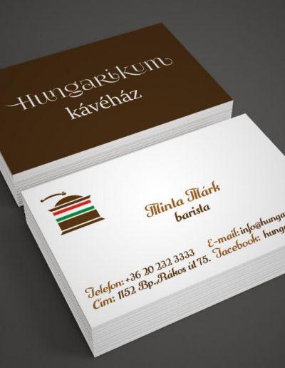 Hungarikum Kávéház névjegykártya terv 1